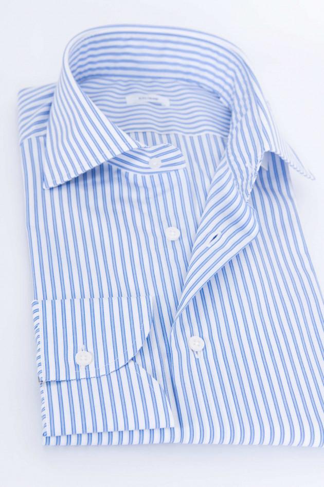 Caliban Gestreiftes Hemd in Blau/Weiß