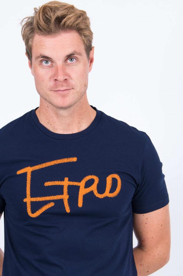 Etro T-Shirt mit Schriftzug in Navy