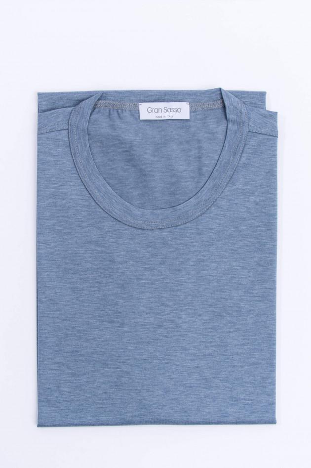 Gran Sasso Jersey Kurzarm-Shirt in Schieferblau meliert