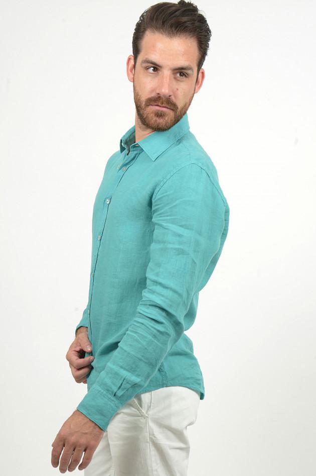 Grüner Leinenhemd in Türkis