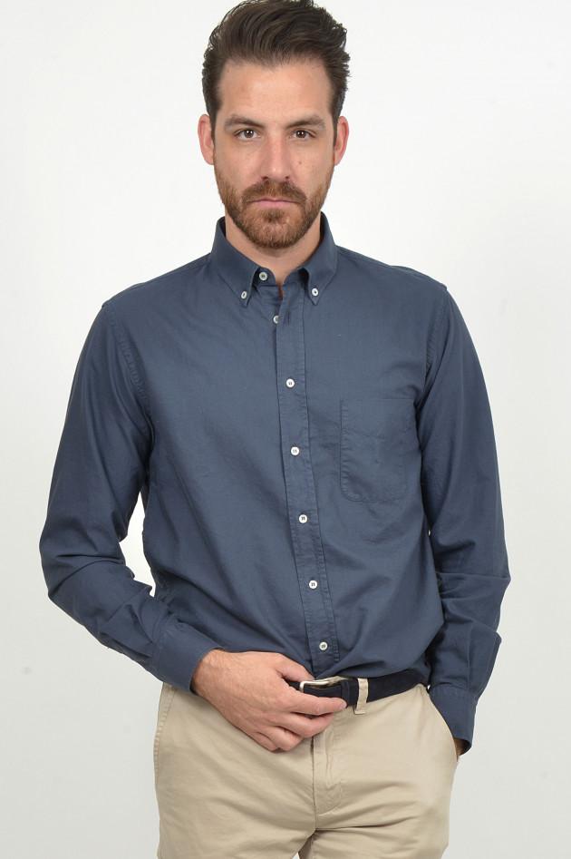 Grüner Oxford - Hemd in Navy
