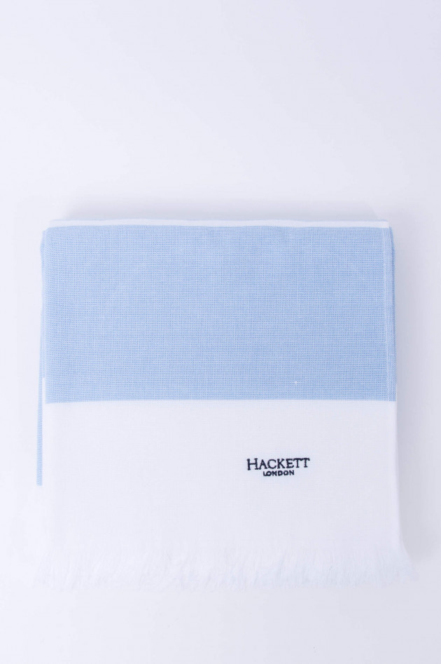 Hackett London Badetuch in Weiß/Hellblau gestreift