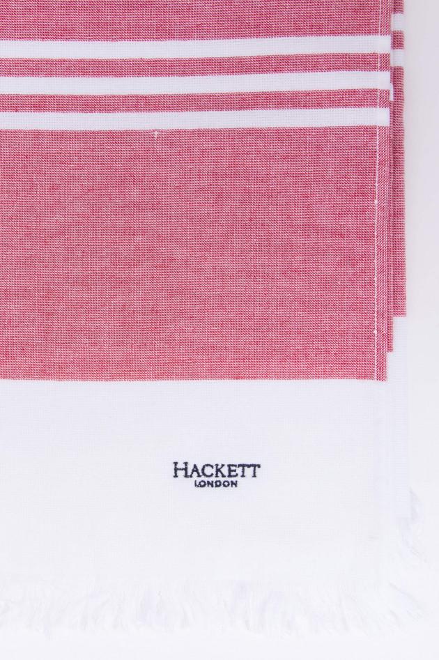 Hackett London Badetuch in Weiß/Rot gestreift