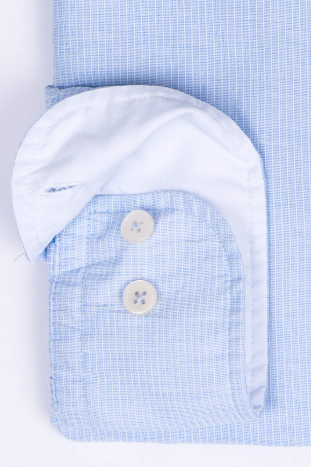 Hackett London Hemd mit Kontrast-Knopfleiste in Hellblau