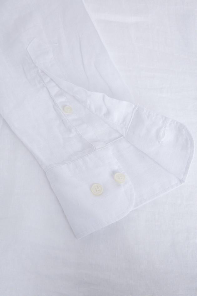 Hackett London Leinenhemd mit Stehkragen in Weiß