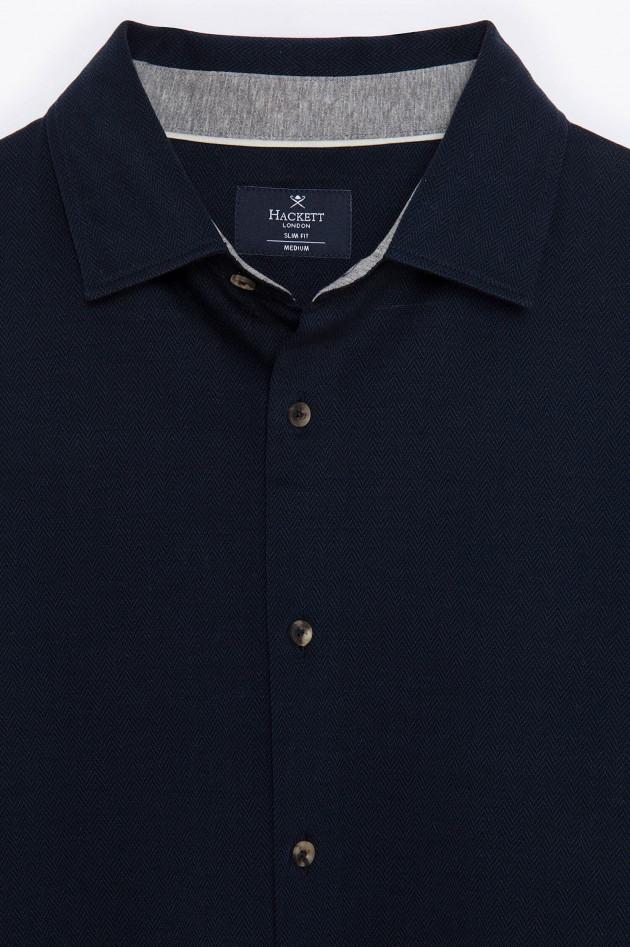 Hackett London Jersey Hemd mit Fischgrät-Design in Navy