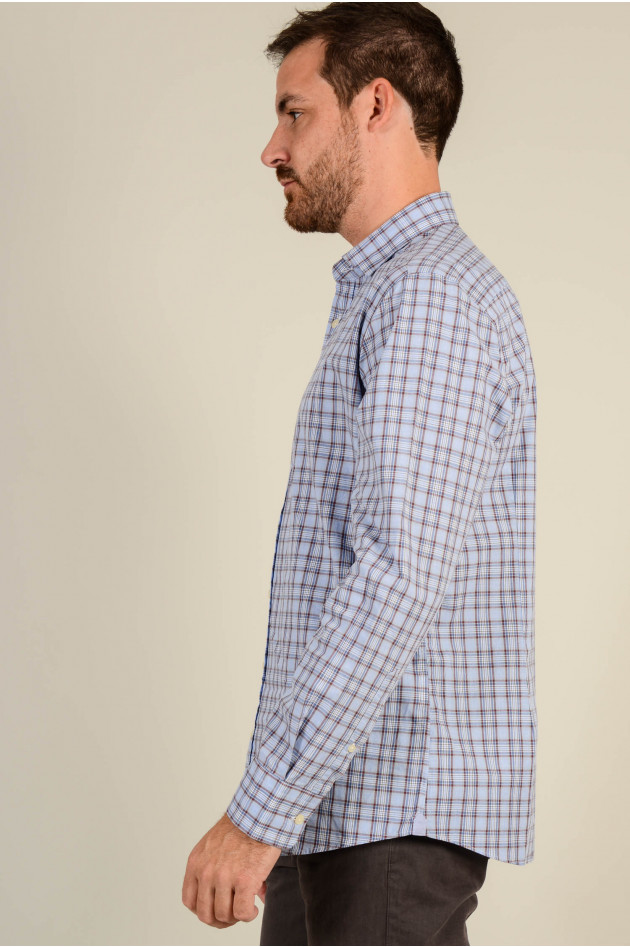 Hackett London Hemd SLIM FIT in Blau gemustert