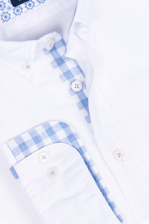 Hackett London Hemd mit Kontras-Details in Weiß