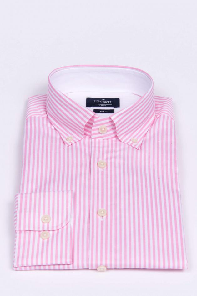 Hackett London Oxford Hemd in Rosa/Weiß gestreift