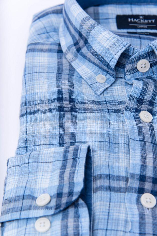 Hackett London Leinenhemd im Karo-Design in Blau