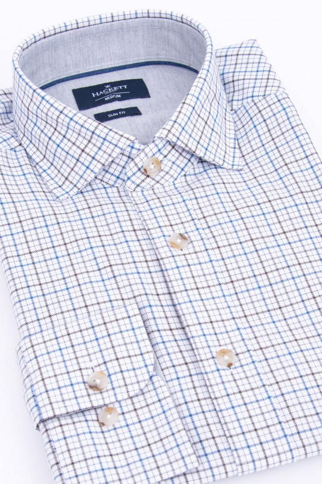 Hackett London Hemd in Weiß/Blau/Braun