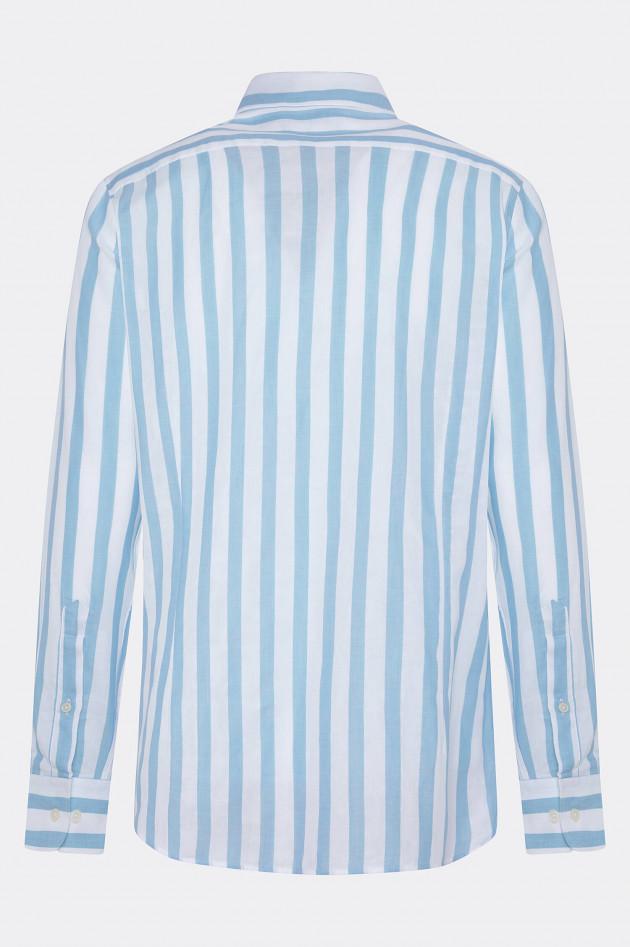 Hackett London Gestreiftes Baumwoll-Hemd in Weiß/Hellblau