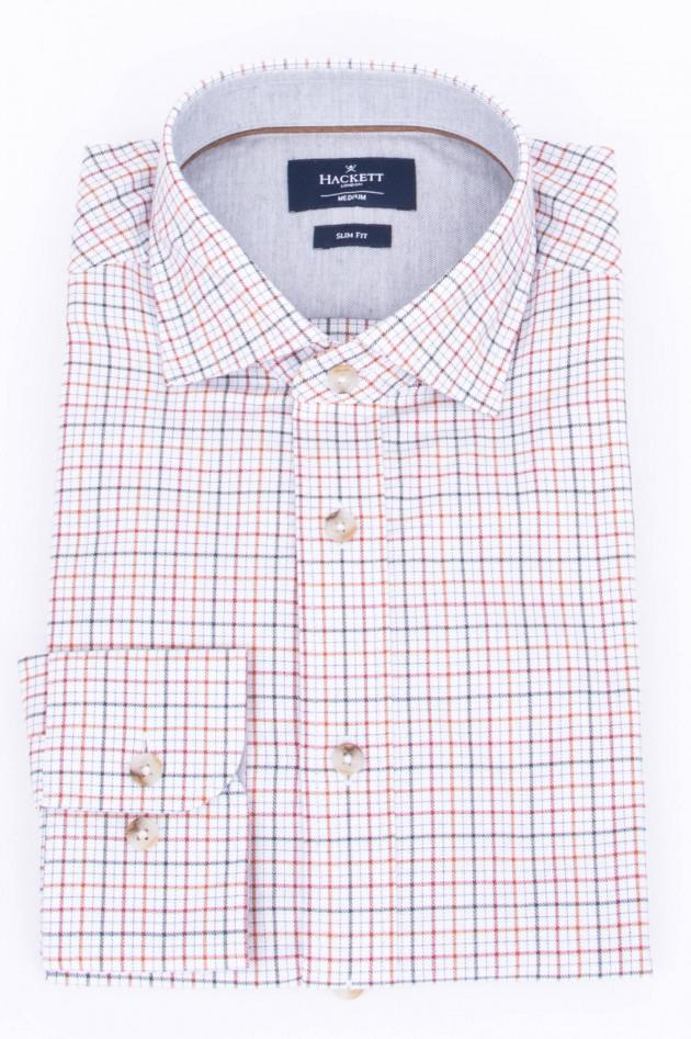 Hackett London Hemd in Weiß/Braun/BRot