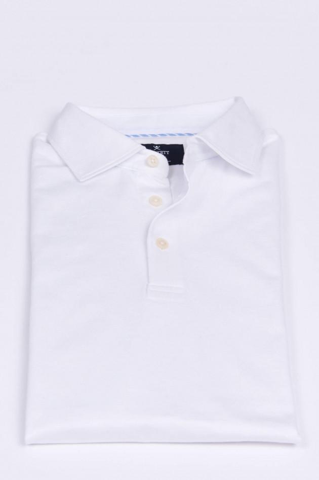 Hackett London Poloshirt aus Baumwoll-Leinen-Mix in Weiß
