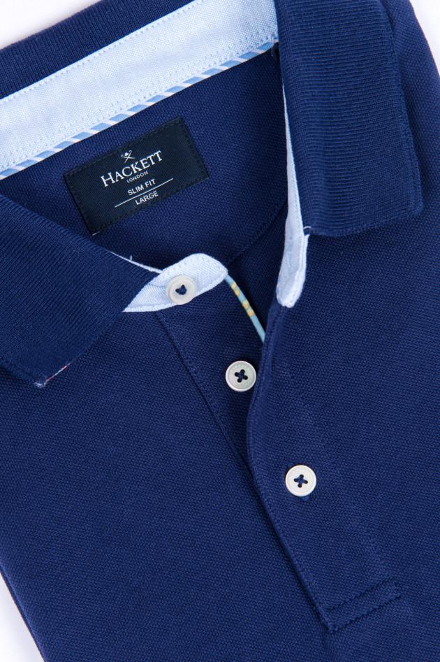 Hackett London Poloshirt mit dezentem Korallenmuster in Navy