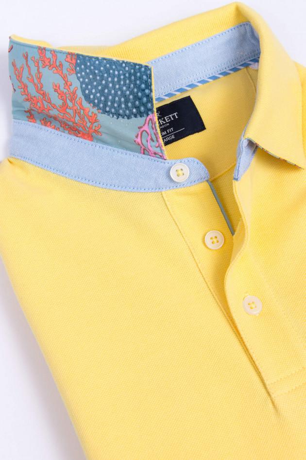 Hackett London Poloshirt mit dezentem Korallenmuster in Gelb