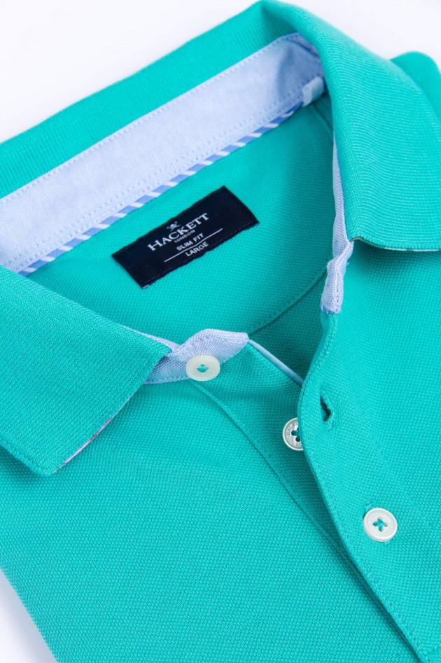 Hackett London Poloshirt mit dezentem Korallenmuster in Mint