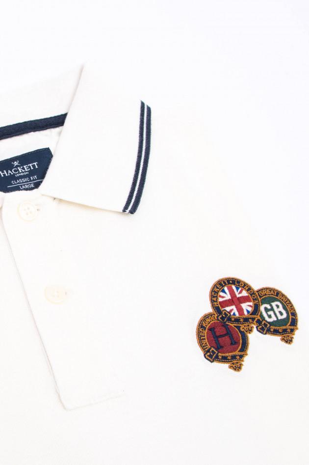Hackett London Polo-Shirt mit englischen Stickerein in Weiß