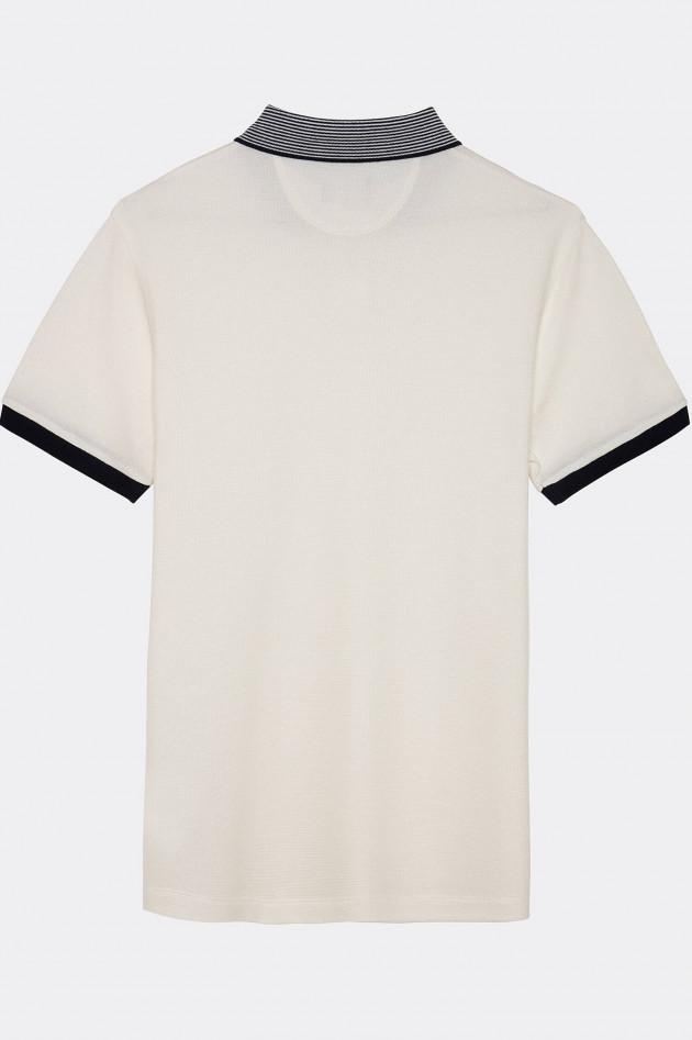 Hackett London Poloshirt mit Streifen-Kragen in Weiß/Navy