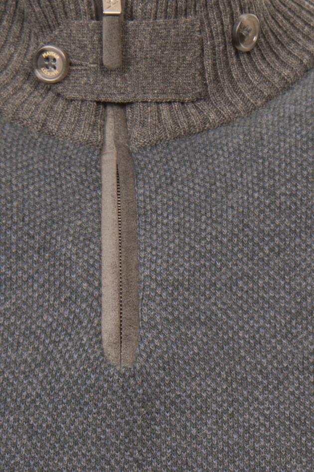 Hackett London Pullover mit Stehkragen in Grau/Grün gemustert