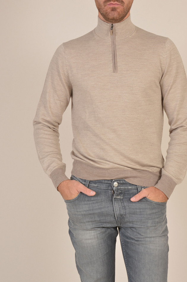 Hackett London Rollkragenpullover mit Zipper in Beige