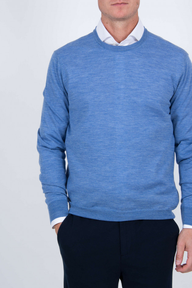 Hackett London Pullover mit Lederpatches in Blau