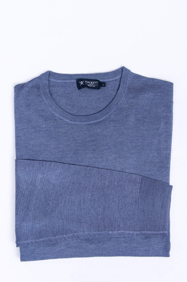 Hackett London Rundhals-Pullover in Rauchblau