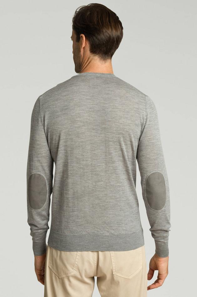 Hackett London Feinstrickpullover mit Ellbogen-Patch in Grau