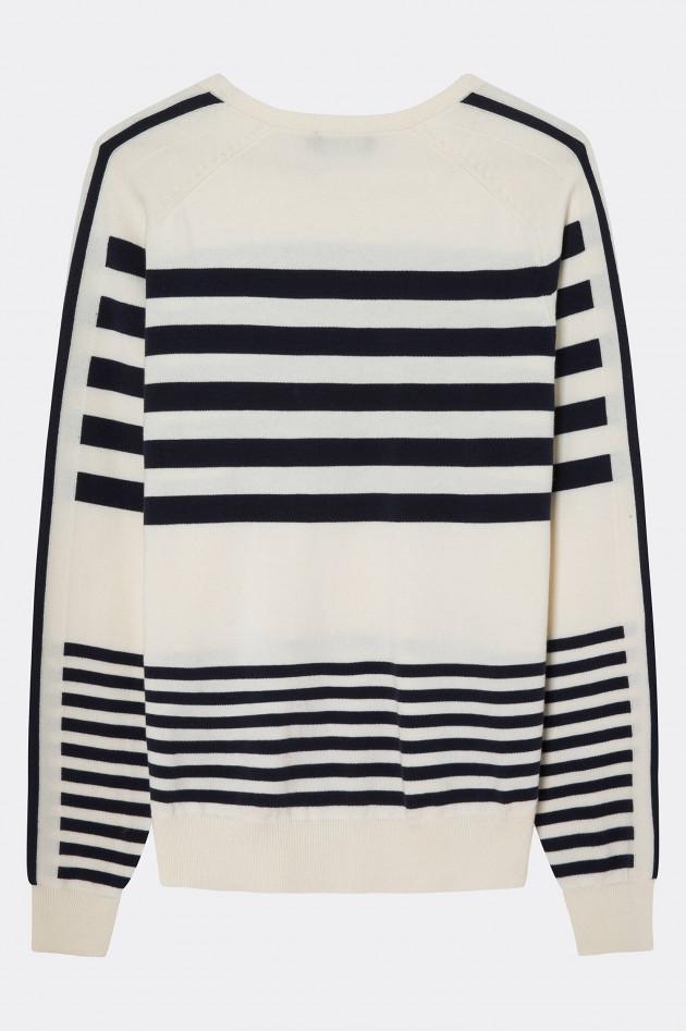 Hackett London Strickpullover mit Streifen-Design in Weiß/Navy