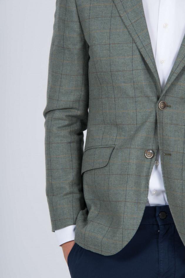 Hackett London Sakko mit Lederpatches in Grün gemustert