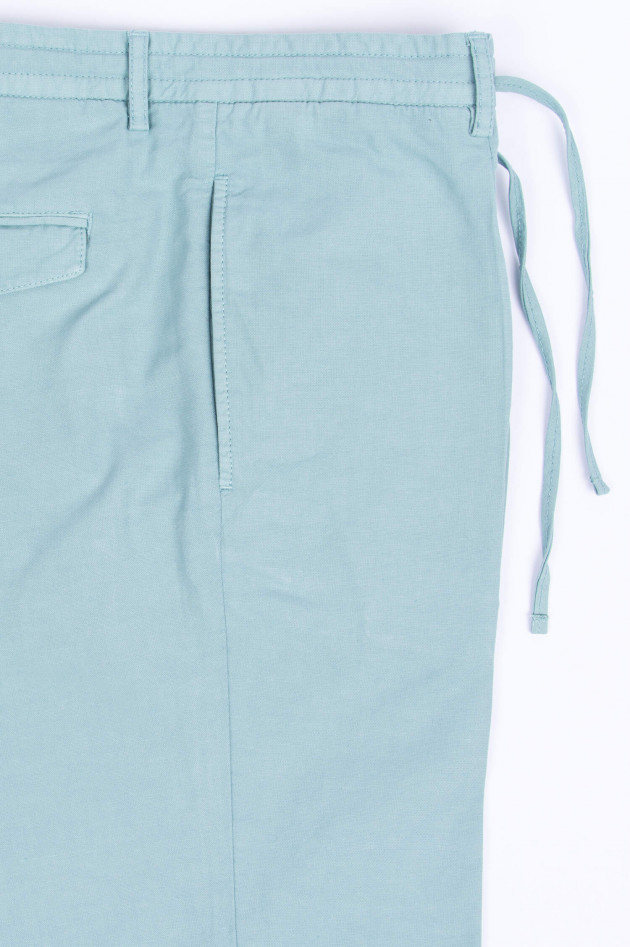 Hackett London Shorts aus Baumwoll-Leinen-Mix in Salbei