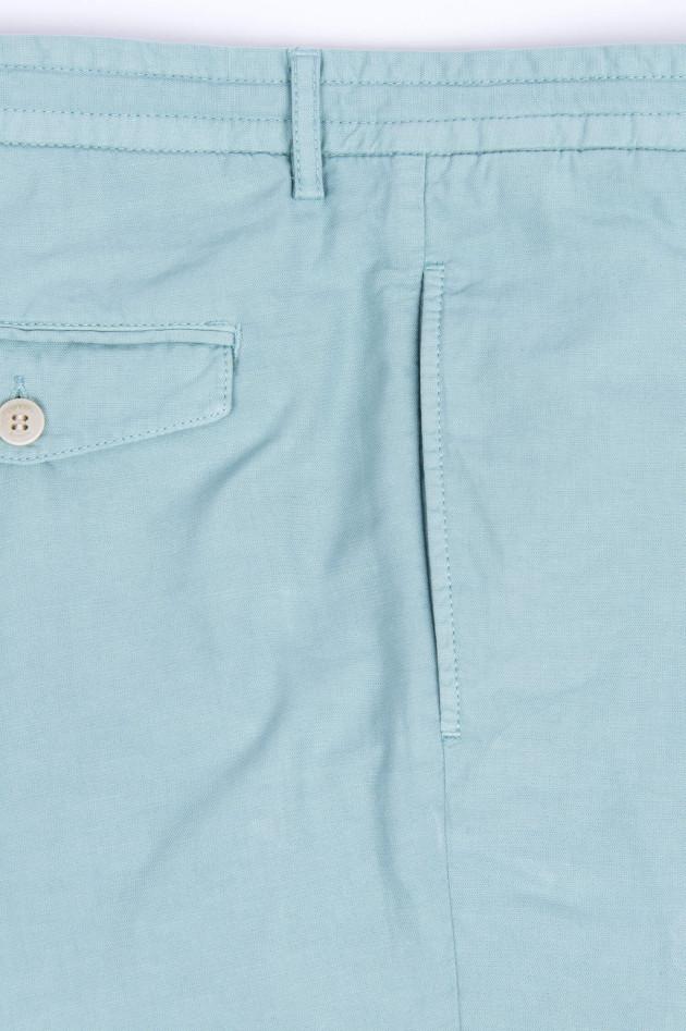 Hackett London Shorts aus Baumwoll-Leinen-Mix in Salbei