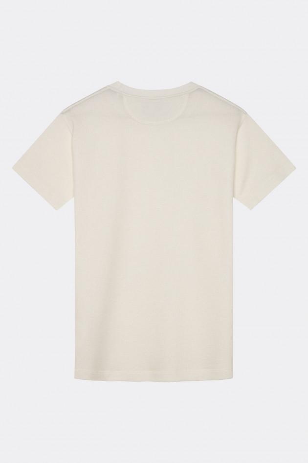 Hackett London Rundhalsshirt mit Piqué-Struktur in Weiß