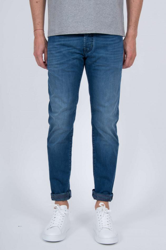 jacob cohen jeans mit gemustertem innendruck in blau. Black Bedroom Furniture Sets. Home Design Ideas
