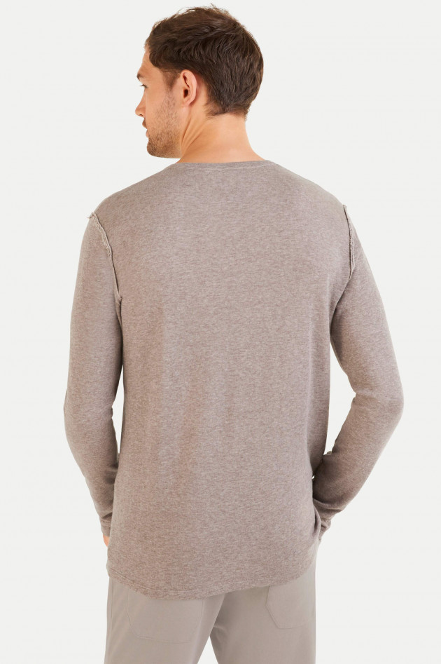 Juvia Cashmix Sweatshirt mit V-Ausschnitt in Taupe
