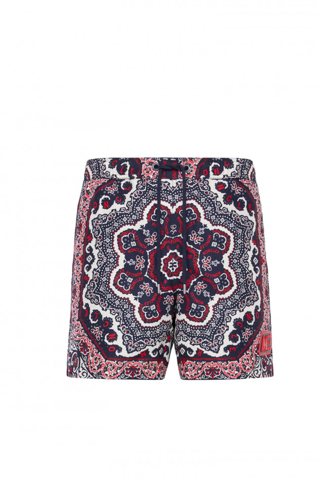 Moncler Badehose BOXER MARE in Navy/Rot gemustert