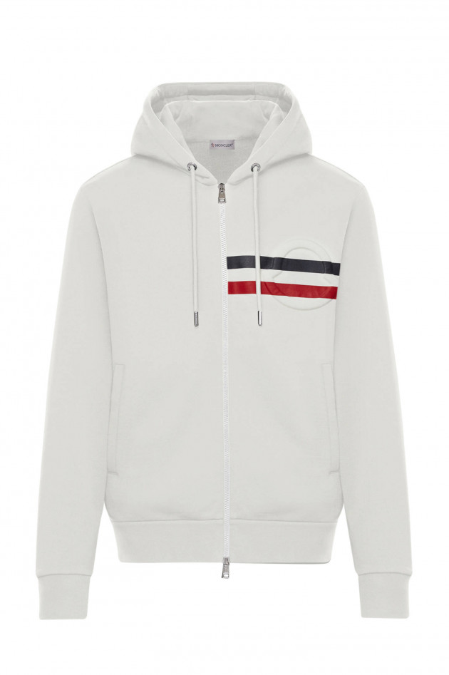 Moncler Sweatjacke MAGLIA mit Relief-Logo in Offwhite