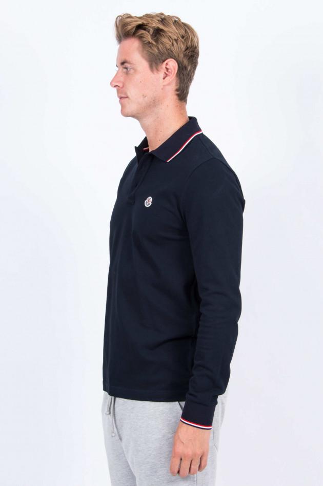 Moncler Langarm-Poloshirt in Navy