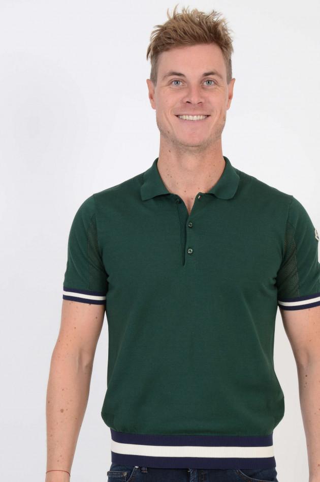 Moncler Poloshirt mit Lochstrick in Grün