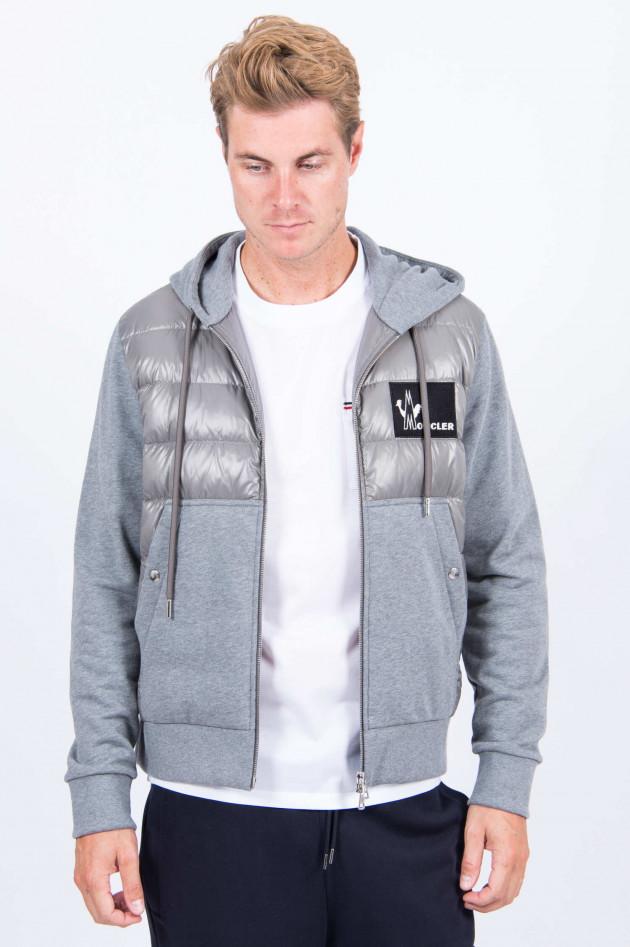 Moncler Sweatjacke mit Dauneneinsatz in Grau