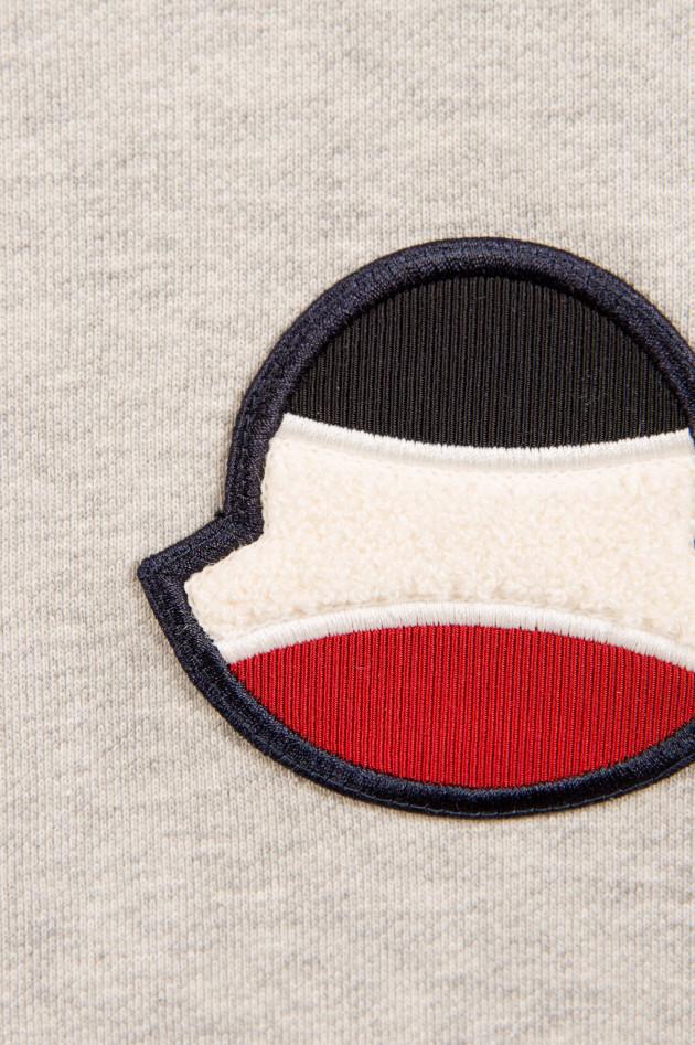 Moncler Baumwollsweater mit Logo in Grau meliert