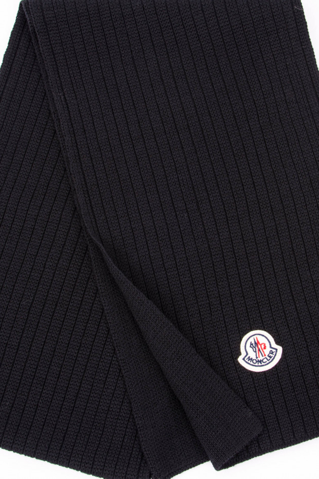 Moncler Schal aus reiner Schurwolle in Schwarz