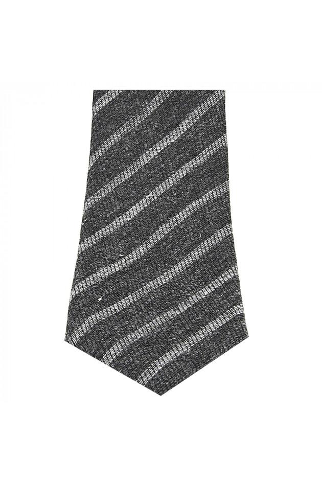 Krawatte Dunkelgrau/Hellgrau gesteift