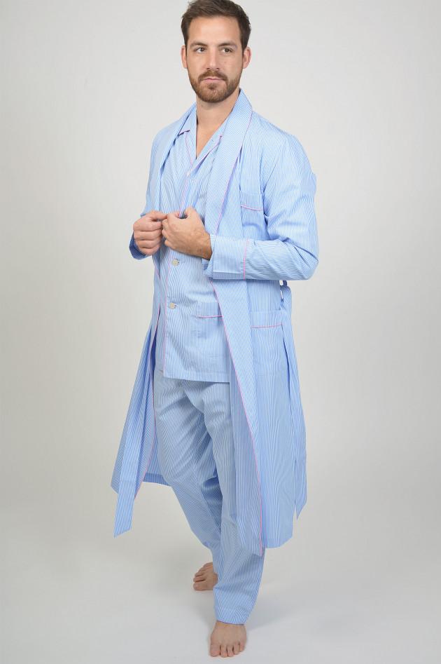 Roberto Ricetti Bademantel aus Baumwolle in Blau/Weiß/Rosa