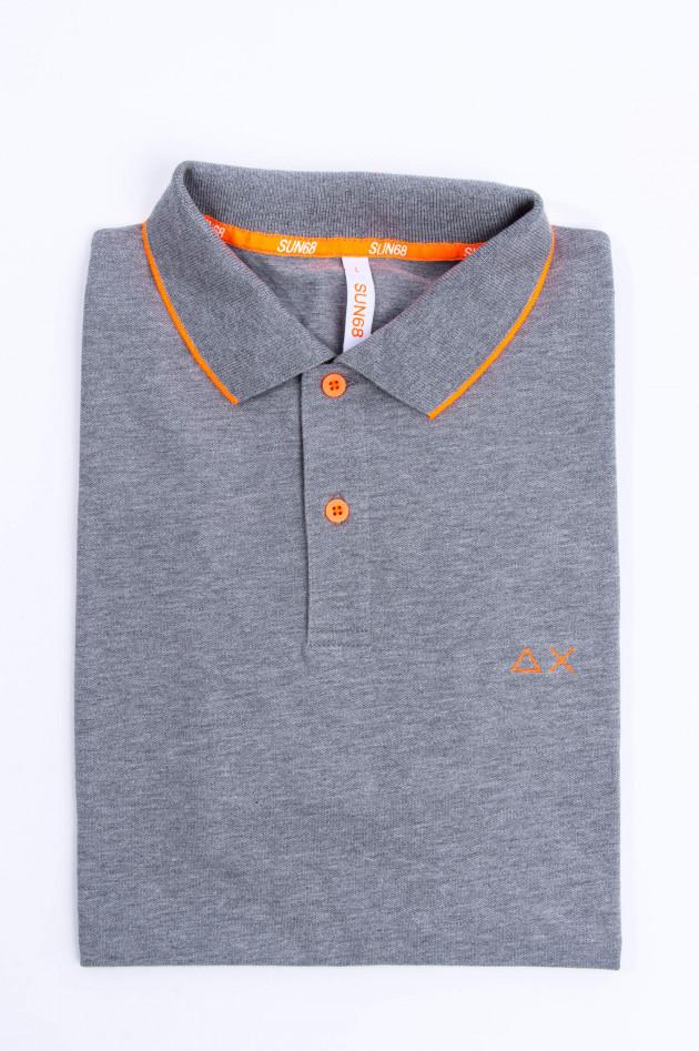 Sun68  Modernes Polo in Grau/Orange meliert
