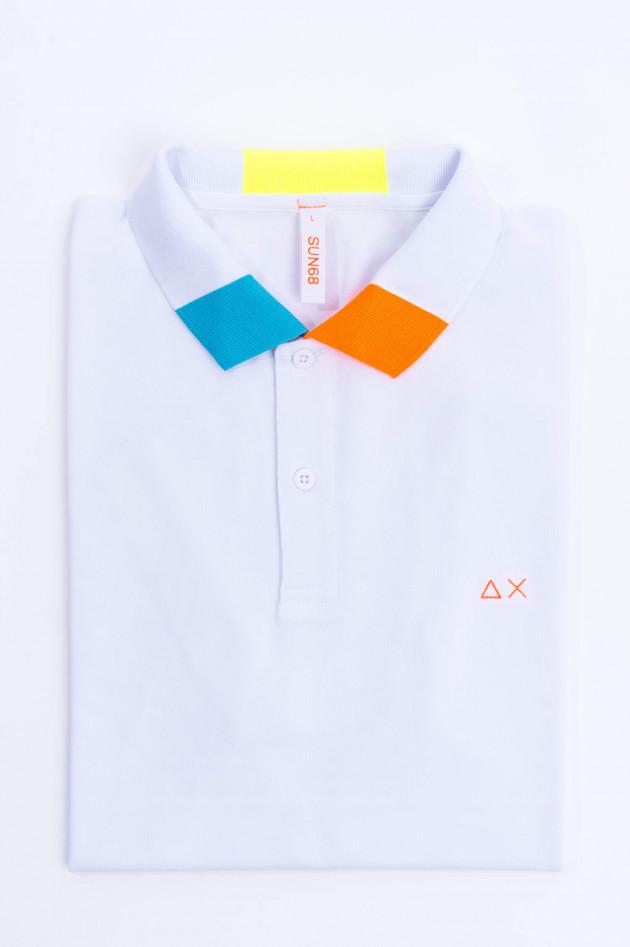 Sun68  Poloshirt mit Neon-Details in Weiß/Multicolor