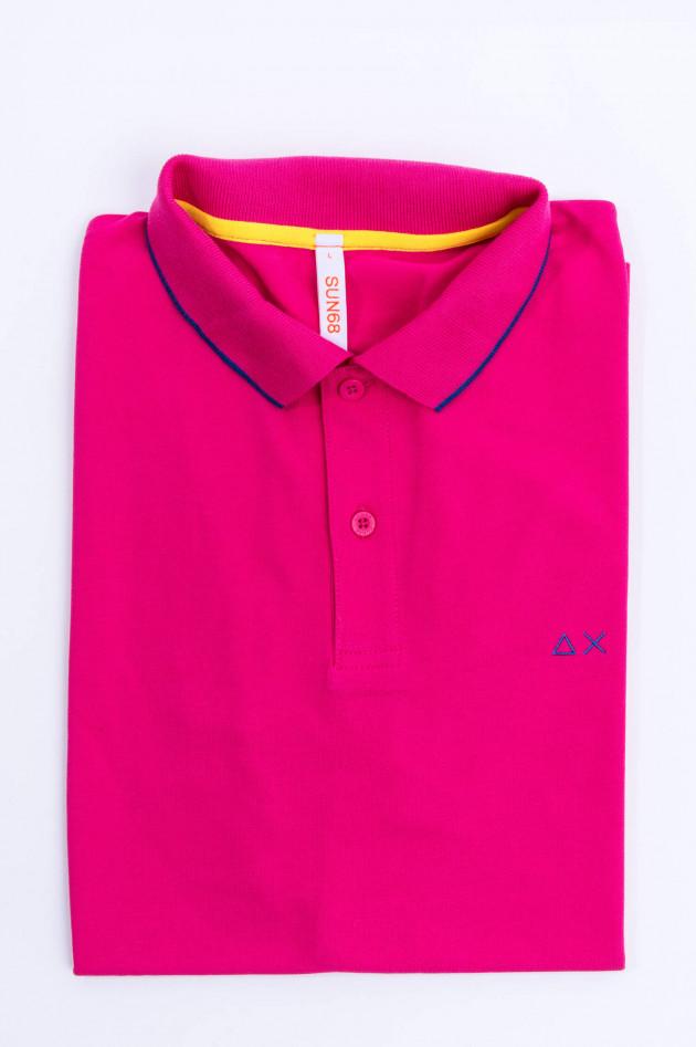 Sun68  Polo mit zarten Streifen in Pink