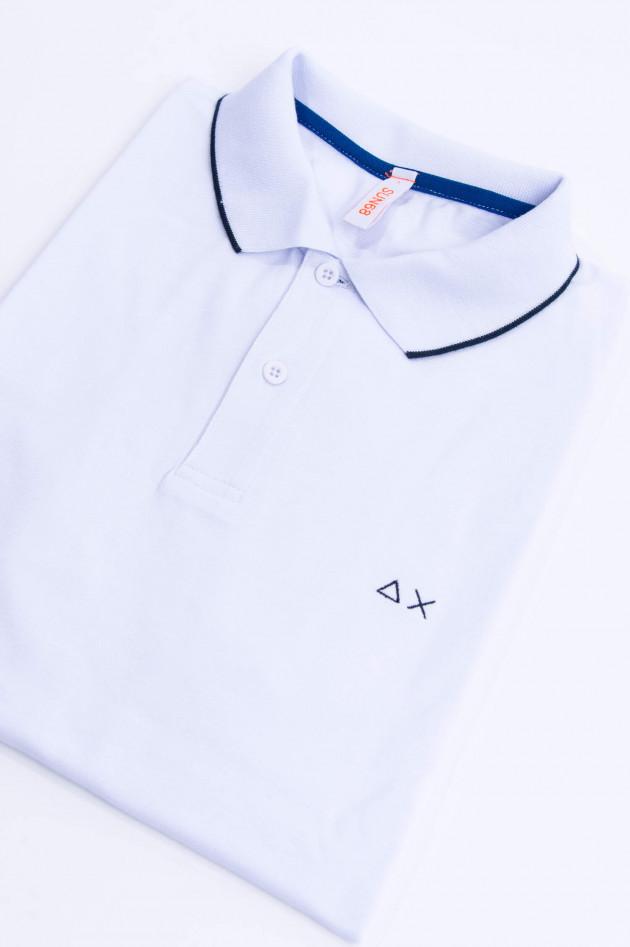 Sun68  Polo mit zarten Streifen in Weiß