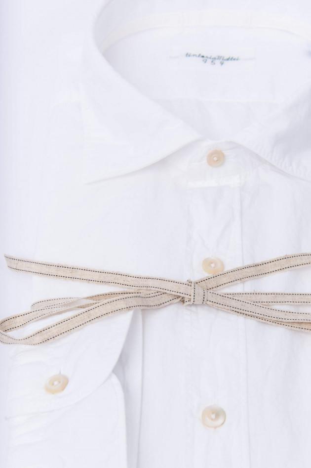 Tintoria Mattei 954 Hemd mit Paper-Touch-Effekt in Weiß