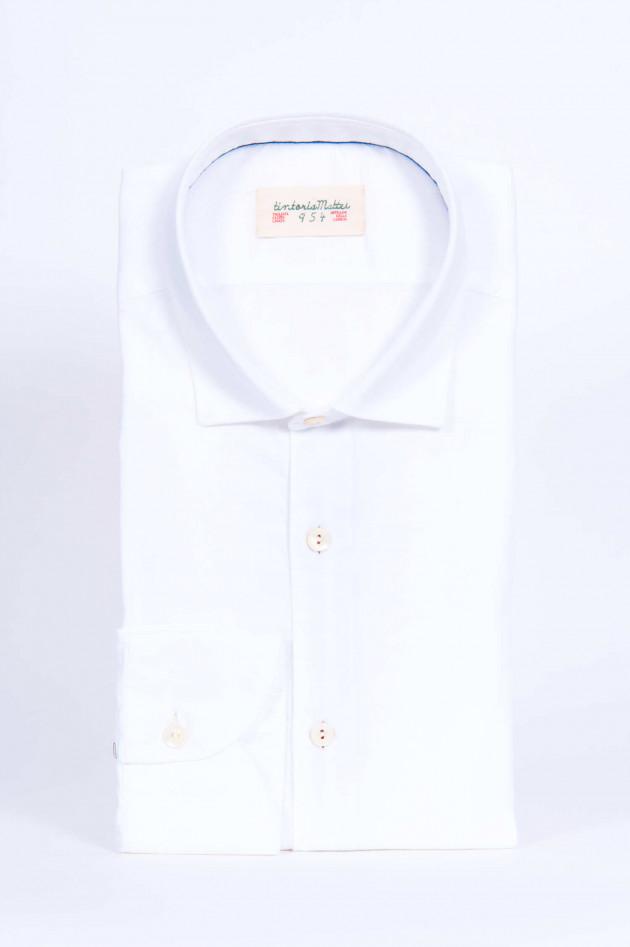 Tintoria Mattei 954 Hemd mit Kontrast-Knopfleiste in Weiß